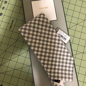 Tom Ford new black white designer silk tie